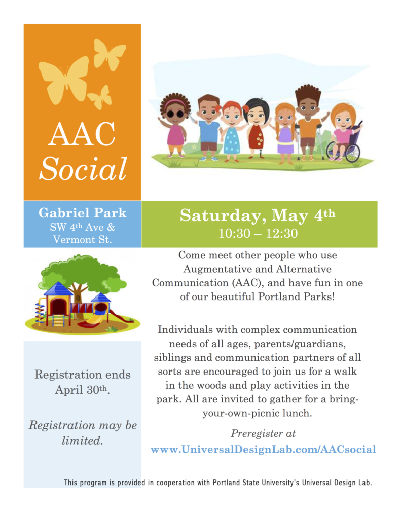 Flyer about event.  See PDF for accessible version on page.   Image of children at park and image of playground equipment, plus description of event.